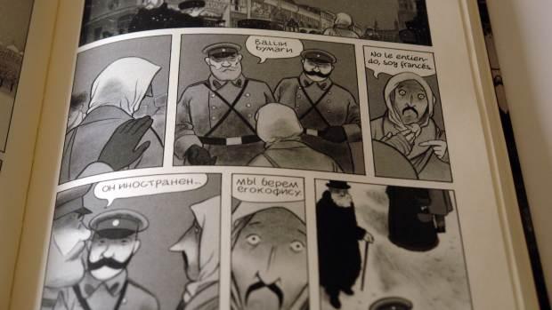 """Albert """"despertando"""" de uno de sus viajes en Moscú"""