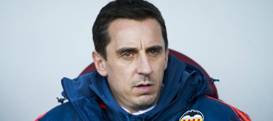 Gary Neville, durante el partido contra el Eibar