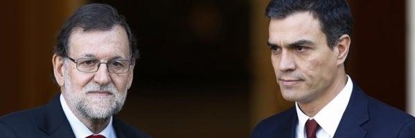 Saludo entre Mariano Rajoy y Pedro Sánchez