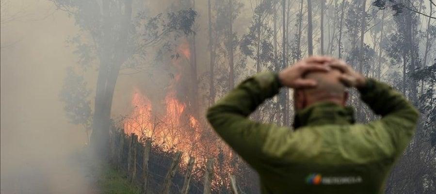 Uno de los incendios forestales en los montes próximos a la localidad cántabra de Viernoles