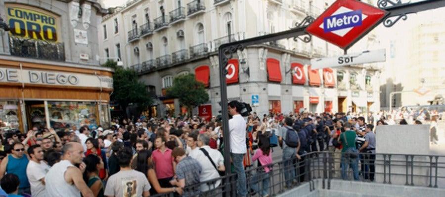 Parada de metro Sol en Madrid