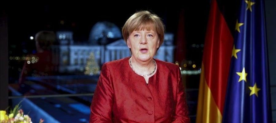 La canciller alemana, Angela Merkel en su discurso de Fin de Año