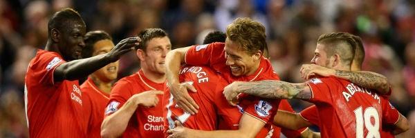 El Liverpool festejando su goleada ante el Everton