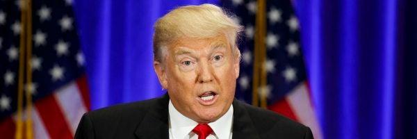 El candidato republicano Donald Trump durante un discurso en Nueva York