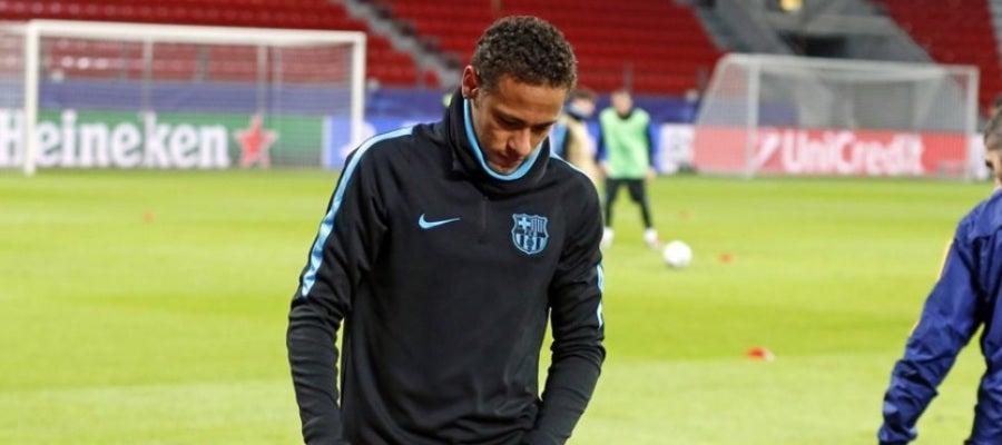 Neymar se retira lesionado del entrenamiento