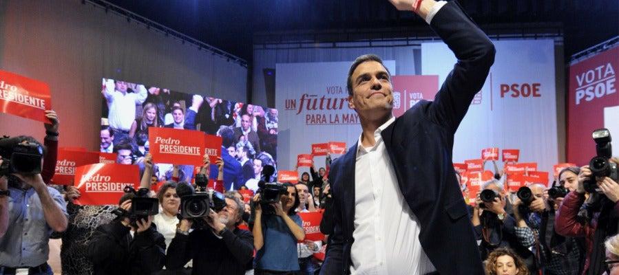 Pedro Sánchez durante el mitin de Toledo