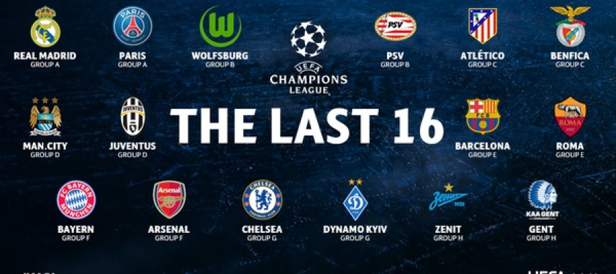 Los equipos clasificados para octavos de la Champions