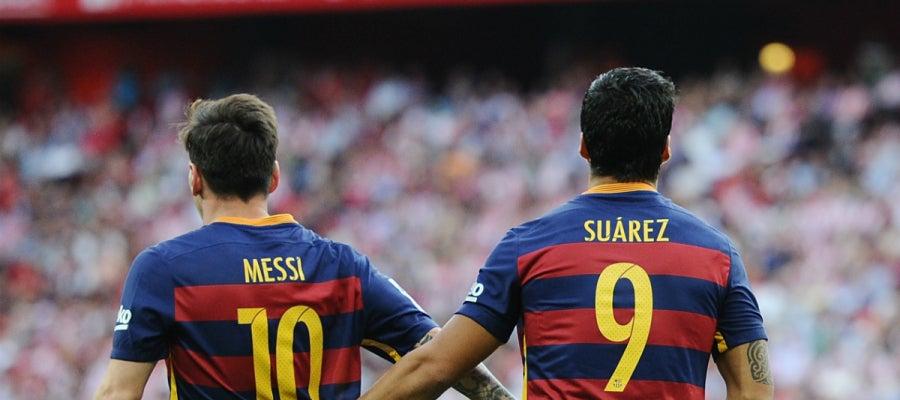 Messi, con Luis Suárez