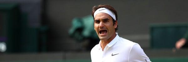 Roger Federer celebra el triunfo en Wimbledon