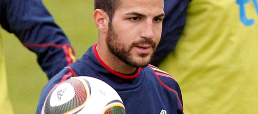 Cesc Fábregas, en un entrenamiento de la selección española