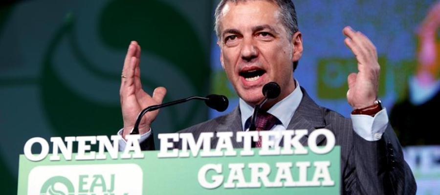 El presidente del PNV, Íñigo Urkullu, durante el acto de inicio de la campaña electoral