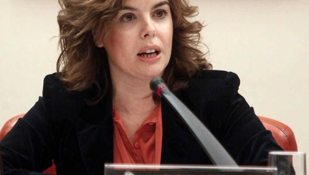 Soraya Sáenz de Santamaría en la comparecencia