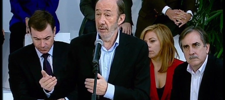 Rubalcaba junto a Valeriano, Valenciano y Tomás Gómez