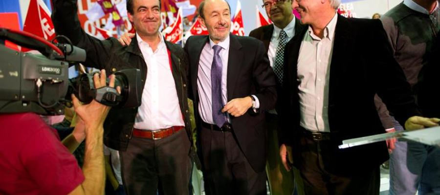 José Bono con Rubalcaba en un mítin en Toledo