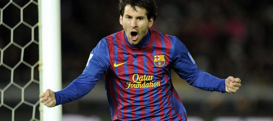 Leo Messi celebra el primer gol de la final del Mundialito ante el Santos