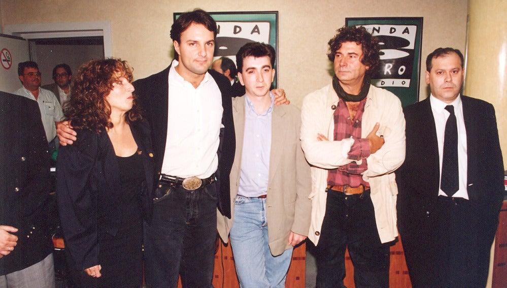 Quique Supermix, Pablo Motos y Jesús Quintero en una presentación de Onda Cero Música