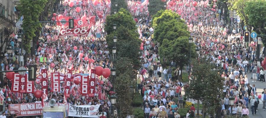 Manifestación central de Galicia convocada por UGT y CCOO