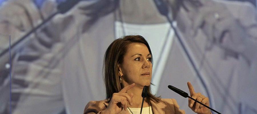 La secretaria general del PP ha estado en el Congreso del PP de Extremadura.