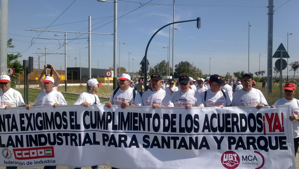 Ex-trabajadores de Santana en marcha