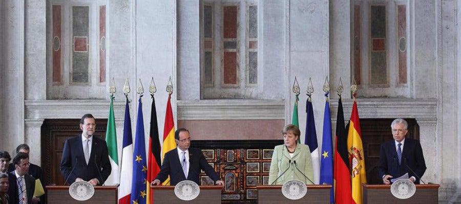 Rajoy, Hollande, Merkel y Monti