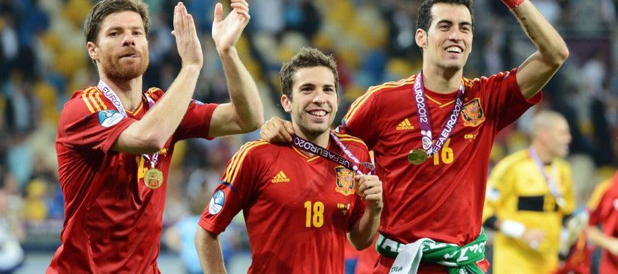 Los jugadores de España, en una nube