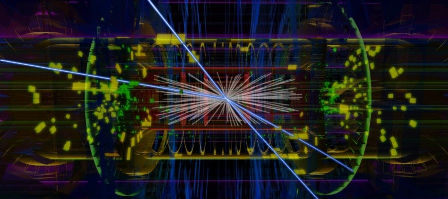 Animación de un evento real de bosón de Higgs