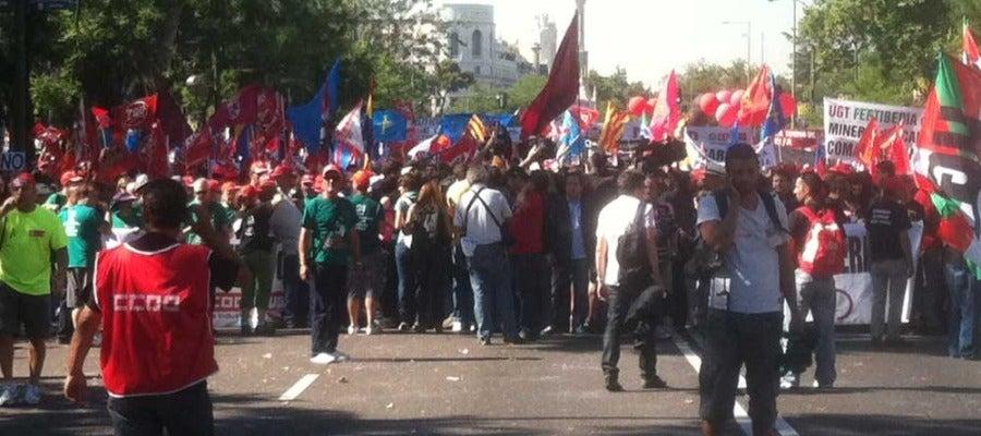 Cabecera de la manifestación de mineros en Madrid