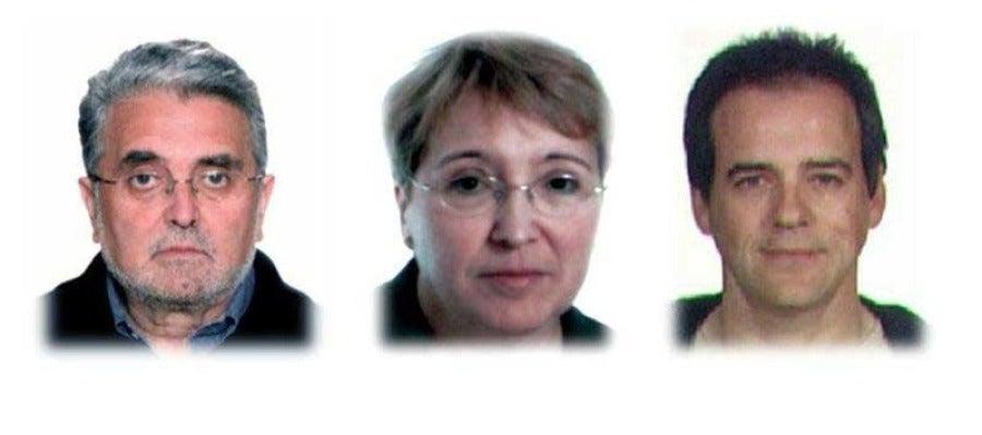 José Antonio Ramón Teijelo, Manuela Ontanilla Galán y Vicente Sarasa Cecilio (i-d), miembros de los GRAPO detenidos