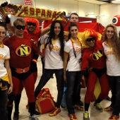 Las integrantes del equipo de gimnasia rítmica en Barajas