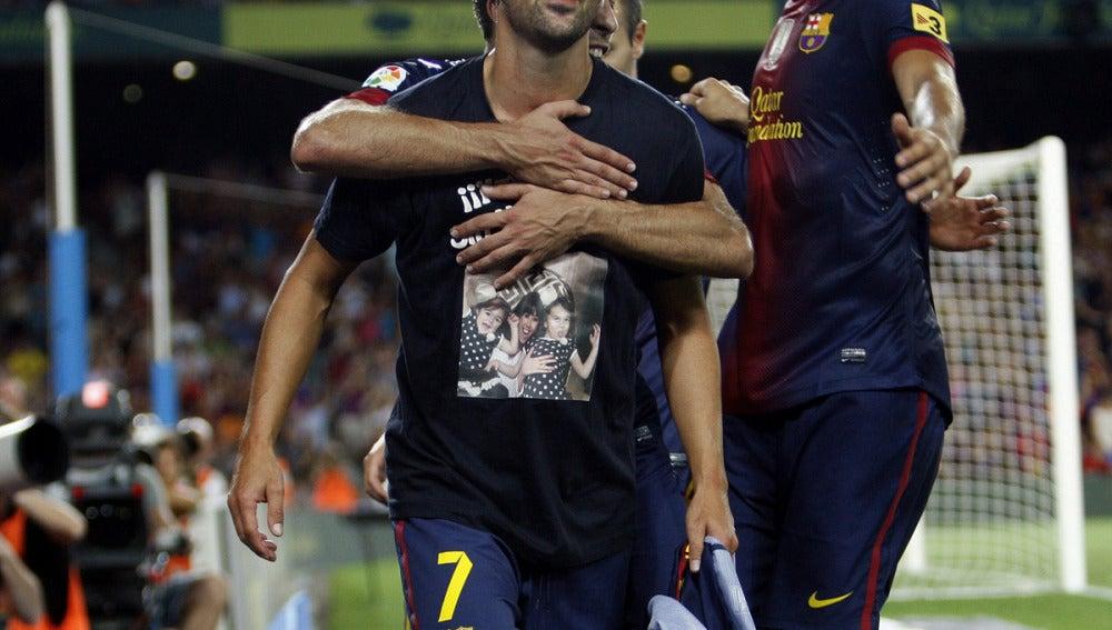 Villa celebra su gol ante la Real Sociedad