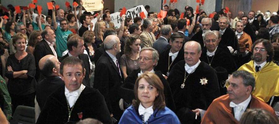 Protestas en la inaguración del curso académico en la Universidad Autónoma de Madrid