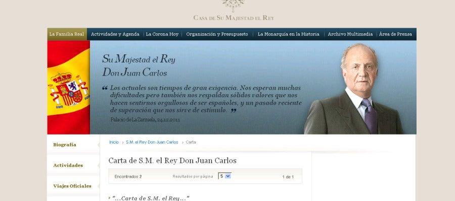 Mensaje del Rey en la web de la Casa Real
