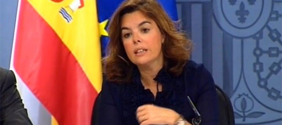 Soraya en la rueda de prensa del Consejo Extraordinario