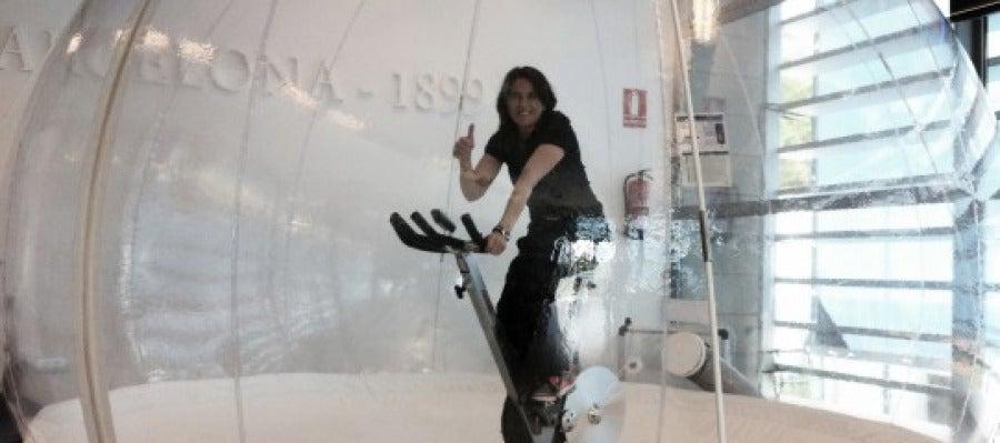 Conclita Martínez entrena en una burbuja de aire puro