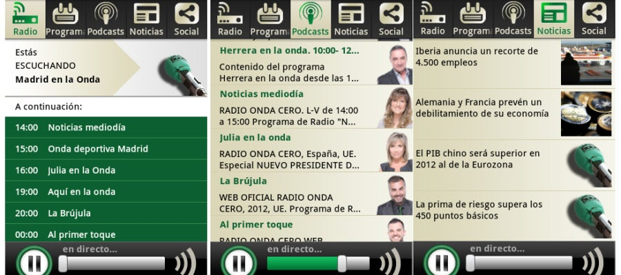Aplicación Android de Onda Cero