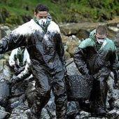 Voluntarios limpiando el fuel del Prestige