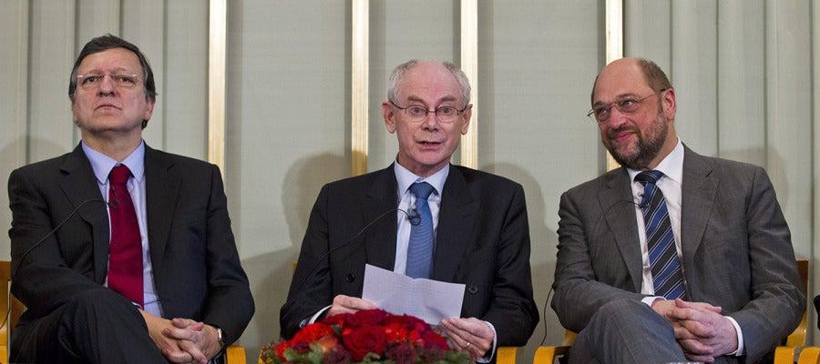 José Manuel Durao Barroso, Herman Van Rompuy y Martin Schulz en Oslo