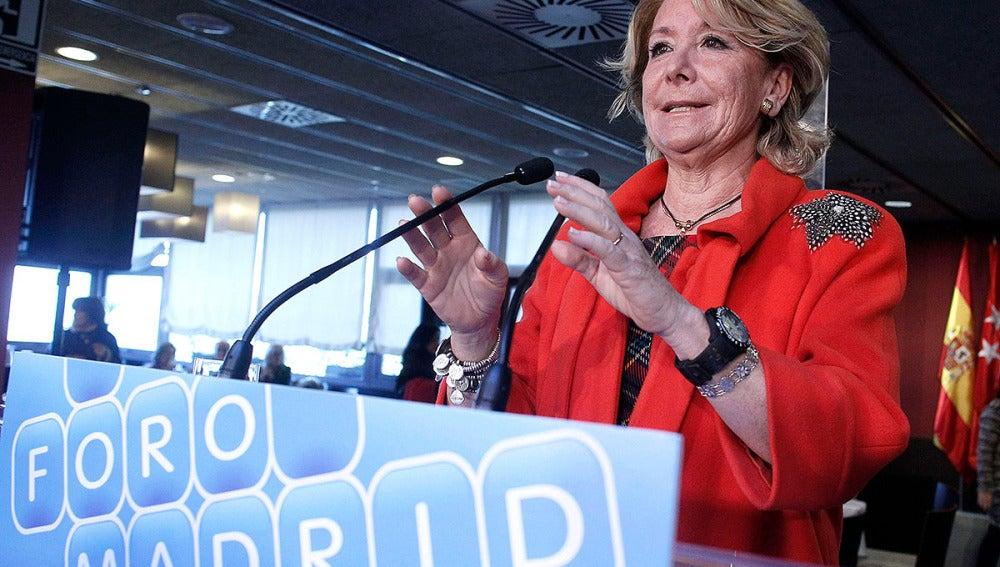 La expresidenta de la Comunidad de Madrid, Esperanza Aguirre, en un acto del PP