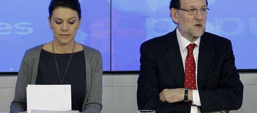 Cospedal y Rajoy, durante la reunión