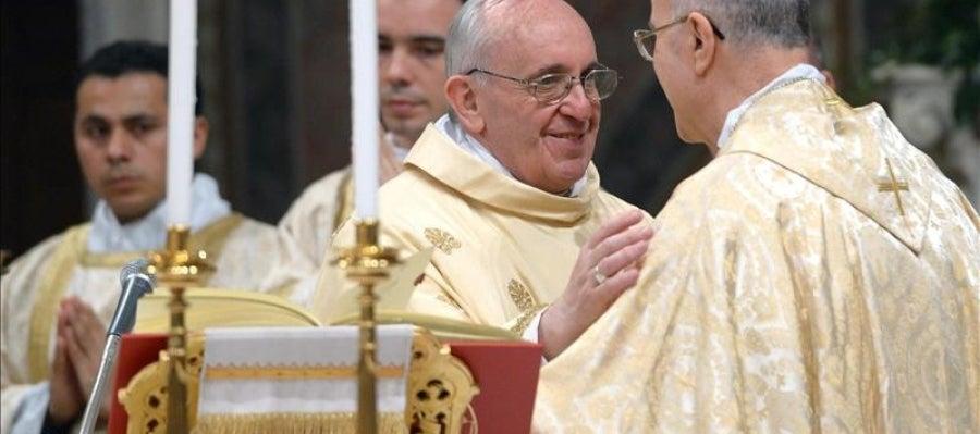 El papa Francisco durante su primera misa como sumo pontífice en la Capilla Sixtina