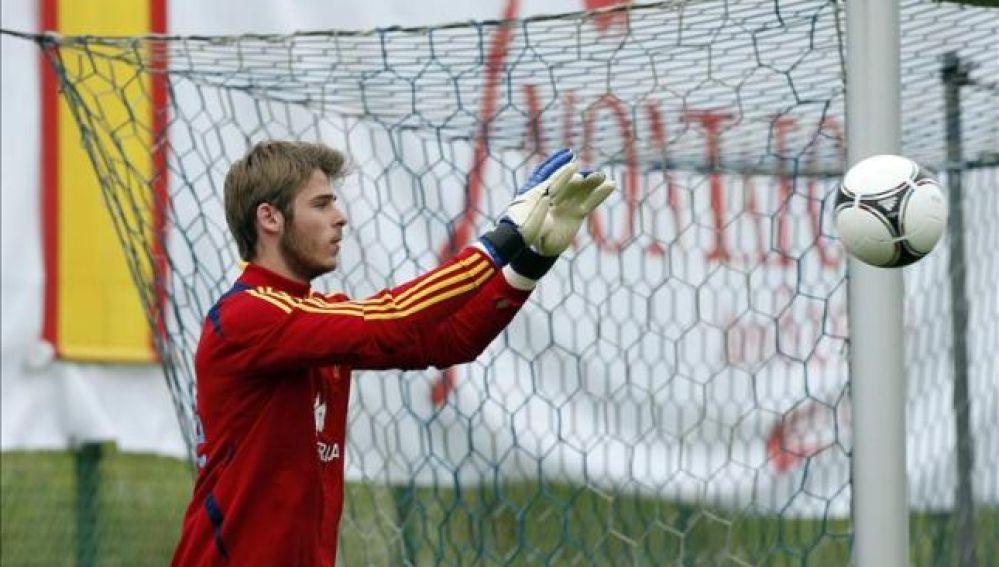 El guardameta de la selección española de fútbol David de Gea, durante un entrenamiento