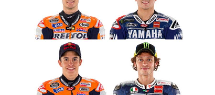 Pedrosa, Lorenzo, Márquez y Rossi