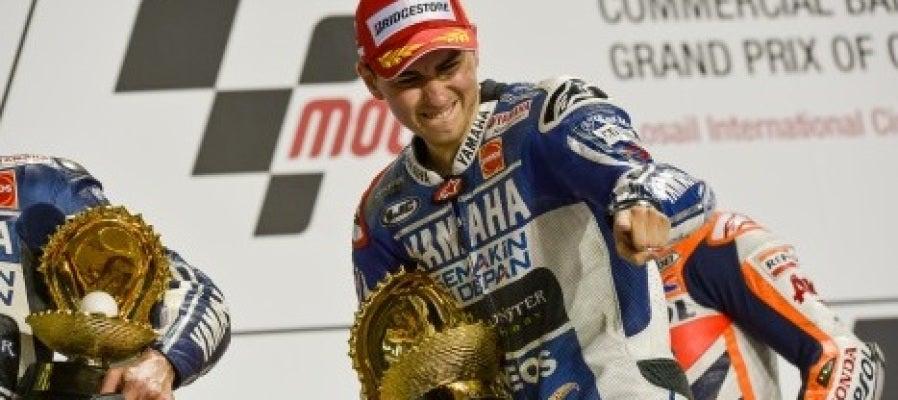Jorge Lorenzo en el podio de Qatar