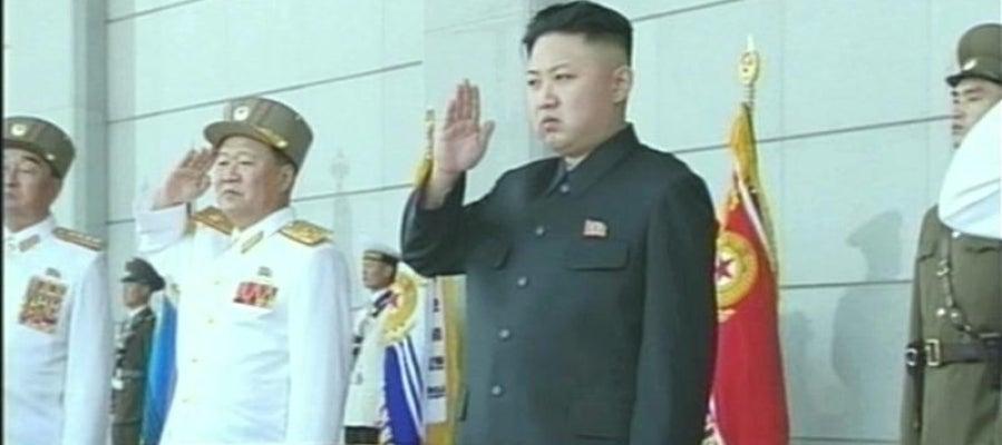 El líder norcoreano Kim Jong-un durante una ceremonia en el Palacio Kumsusan