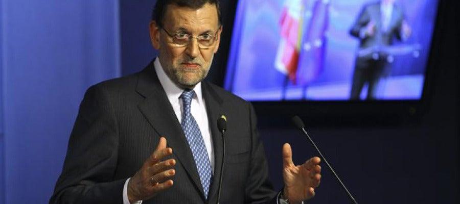 Mariano Rajoy en la rueda de prensa posterior a la cumbre de la UE