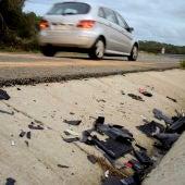 Lugar de un accidente de moto en una carretera española