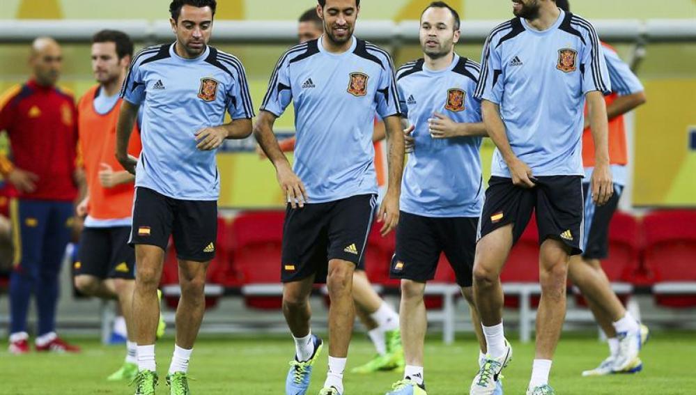 Entrenamiento de la selección española en la Copa Confederaciones