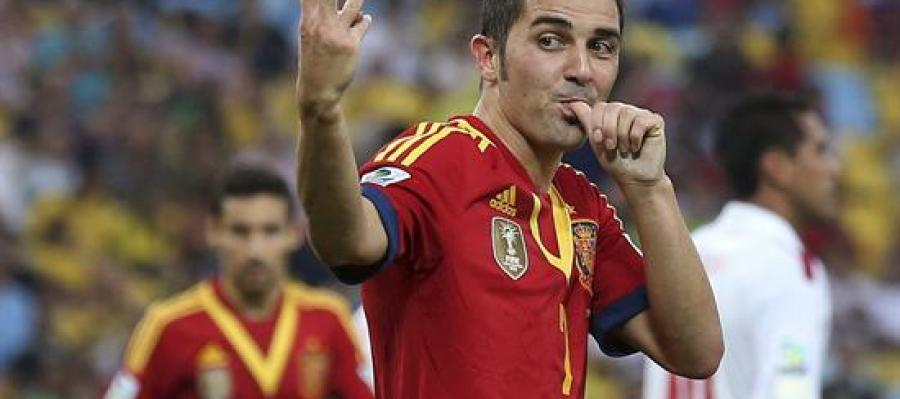 David Villa celebra uno de sus goles ante Tahití