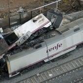 Vista aérea del accidente de tren