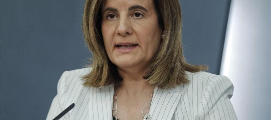 Fátima Báñez durante una rueda de prensa en La Moncloa